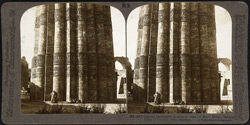 Gigantic embroidery in stone at base of Kutb Minar, Moslem Pillar of Victory, Delhi